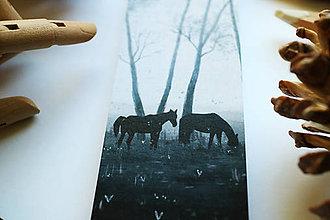 Papiernictvo - Divé kone/ knižná záložka - 11094545_