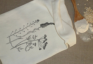 Úžitkový textil - Ľanové vrecko Čierne trávy - 11094681_