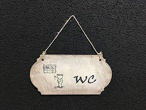 """Dekorácie - Tabuľka """" WC """" (Béžová) - 11093657_"""