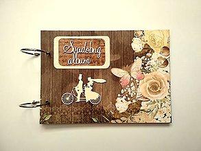 Papiernictvo - Vintage svadobný Fotoalbum * kniha hostí * album A5 - 11093369_