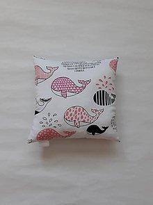 Textil - Vankúšik - mini - veľryba (Ružová) - 11094087_