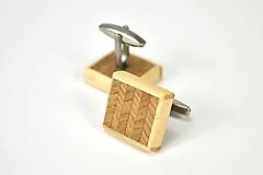 Šperky - Manžetové gombíky drevené - stromčekový vzor dub s javorom, nerez - 11093833_