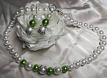 Sady šperkov - Perlový náhrdelník s náušnicami( bielo- zelený) - 11094757_