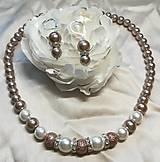 Sady šperkov - Perlový náhrdelník s náušnicami - kávový - 11094765_