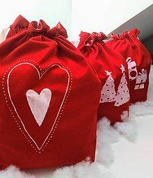 Úžitkový textil - Plátené vrecko nielen na Vianoce v červenom - 11094038_