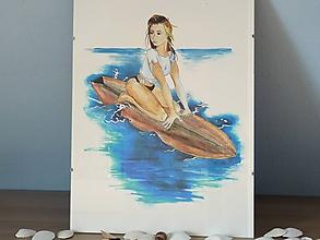 Obrazy - Surfistka, akvarel - 11094170_