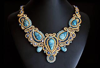 Náhrdelníky - Stone gem Achát. - soutache náhrdelník - 11092942_