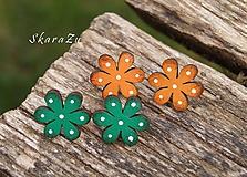 Náušnice - Bodkované kvetiny // puzety - 11093344_