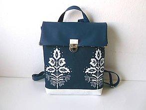 Batohy - folkový batoh z poklopom - 11092950_