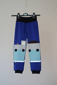 Detské oblečenie - softshellové nohavice Vlak - 11098111_