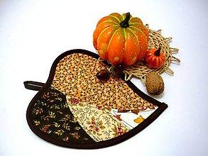 Úžitkový textil - Podšálka list malý  (Hnedá) - 11097741_