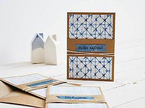 Papiernictvo - Súprava 3 pozdravov - modrá geometria II - 11097219_