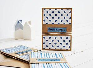 Papiernictvo - Súprava 3 pozdravov - modrá geometria I - 11097239_