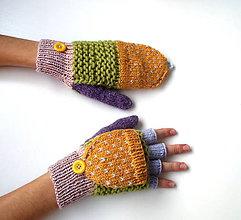 Rukavice - Odklápacie rukavice vlnené so žltou klapkou - 11096685_