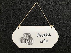 """Dekorácie - Tabuľka """" Detská izba """" kocky  (Biela) - 11097095_"""