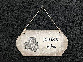 """Dekorácie - Tabuľka """" Detská izba """" kocky  (Béžová) - 11097101_"""