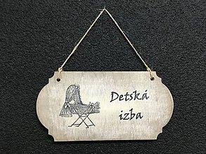 """Dekorácie - Tabuľka """" Detská izba """" kočík  (Béžová) - 11097117_"""