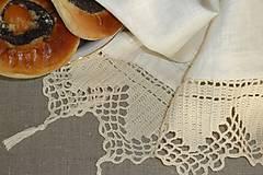 Úžitkový textil - Starodávna a predsa nová...veľká ľanová utierka - uterák 100 x 80,  s ručne háčkovanou čipkou - 11095325_