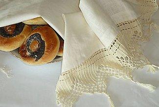 Úžitkový textil - Starodávna a predsa nová... ľanová utierka s ručne háčkovanou krajkou - 11095328_