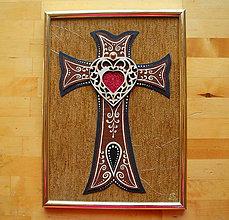 Obrazy - Kríž Červené srdce - 11097177_