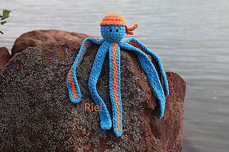 Hračky - Háčkovaná chobotnička Oliver - 11096836_