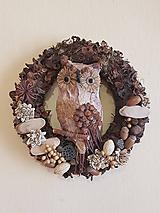 Dekorácie - prírodný veniec so sovou 28 cm - 11095162_