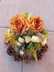 Dekorácie - šiškový  jesenný venček na hrob - 11094800_