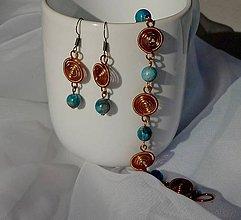 Sady šperkov - Náramok a náušnice s apatitom - 11097965_