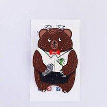Odznaky/Brošne - Brošnička - Hnedý macko (Barman) - 11098120_
