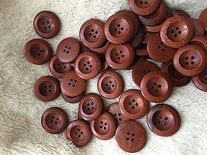 Galantéria - Drevené gombíky okrúhle tmavo hnede - 11096359_