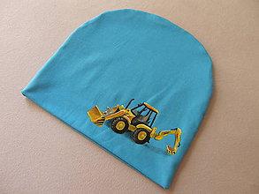 Detské čiapky - Prechodná čiapka s traktorom (Modrá) - 11095484_