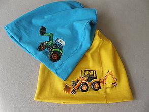 Detské čiapky - Prechodná čiapka s traktorom (Žltá) - 11095497_