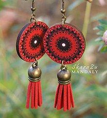 Náušnice - Mandala červená - 11096074_