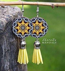 Náušnice - Mandala žltá - 11096089_