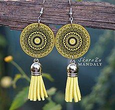 Náušnice - Mandala žltá - 11096248_