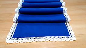 Úžitkový textil - Modrý behúň s bavlnenou čipkou, 150cm - 11096882_