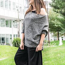 Svetre/Pulóvre - Dámsky šedý dizajnový sveter - 11096369_