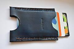 Peňaženky - kožené puzdro na doklady a karty (Modrá) - 11096763_