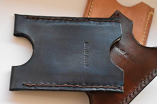 kožené puzdro na doklady a karty (Modrá)