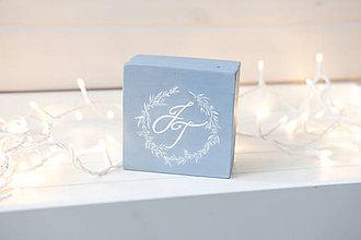 Prstene - Svadobná krabička šedá s maľovaným venčekom - 11096078_