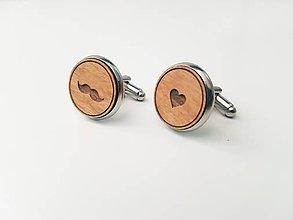 Šperky - Manžetové gombíky - fúzy a srdce (bez textu) - 11099963_