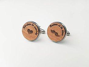 Šperky - Manžetové gombíky - fúzy a srdce (s textom) - 11099965_