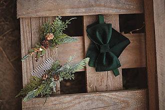 Doplnky - Vianočná akcia - Luxusný zamatový motýlik - zelený - 11098232_