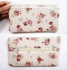 Peňaženky - Peňaženka - Bordové ruže a krajka - 11100818_