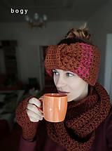 Čiapky - Silná zimní maxi čelenka, dvojitý turban hnědý - 11099222_