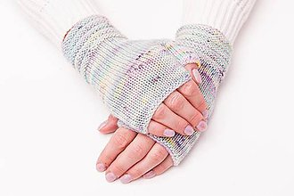 Rukavice - Pletené nátepníčky - fialový melír II - 11100357_