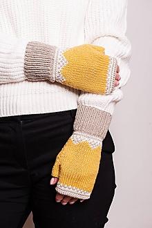 Rukavice - Pletené nátepníčky s nórskym vzorom - horčicová - 11101279_