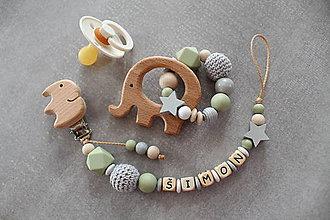 Detské doplnky - Set alebo samostatná retiazka na cumlík a hryzátko s menom olivokhaki - 11099738_
