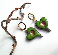 Náušnice - Keramické náušnice - Srdiečka zelené - 11100128_