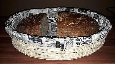 Košíky - Košík na chlieb s textilnou výplňou (Čierno-biela) - 11099112_
